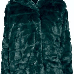 Huda Hooded Faux Fur Jacket Dark Green
