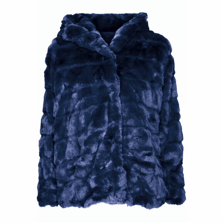 Huda Hooded Faux Fur Jacket Navy