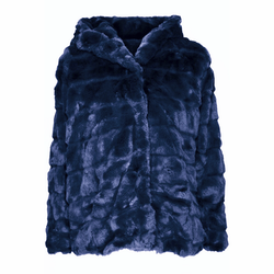 Huda Hooded Faux Fur Jacket Navy