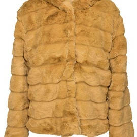 Huda Hooded Faux Fur Jacket Yellow