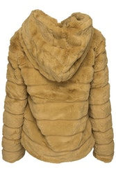 Huda Hooded Faux Fur Jacket Yellow