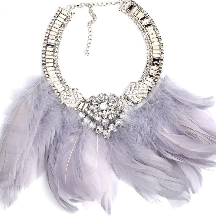 Feather Grey Halsband