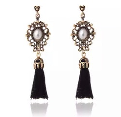 Cecilia Black Tassel Earrings