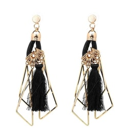 Frida Tassel Gold Black Örhängen