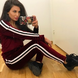 Mrs. Stripes 2 piece velvet tracksuit Red