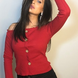 Ramina Top With Buttons Red
