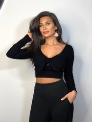 Bex Crop Top With Tie Black
