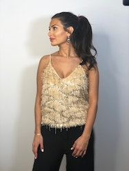 Olyvia Sequin Top Beige Gold