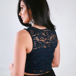 Cindy Top With Lace Navy