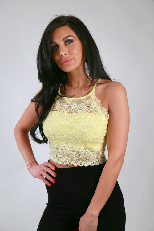 Trina Top With Lace Yellow