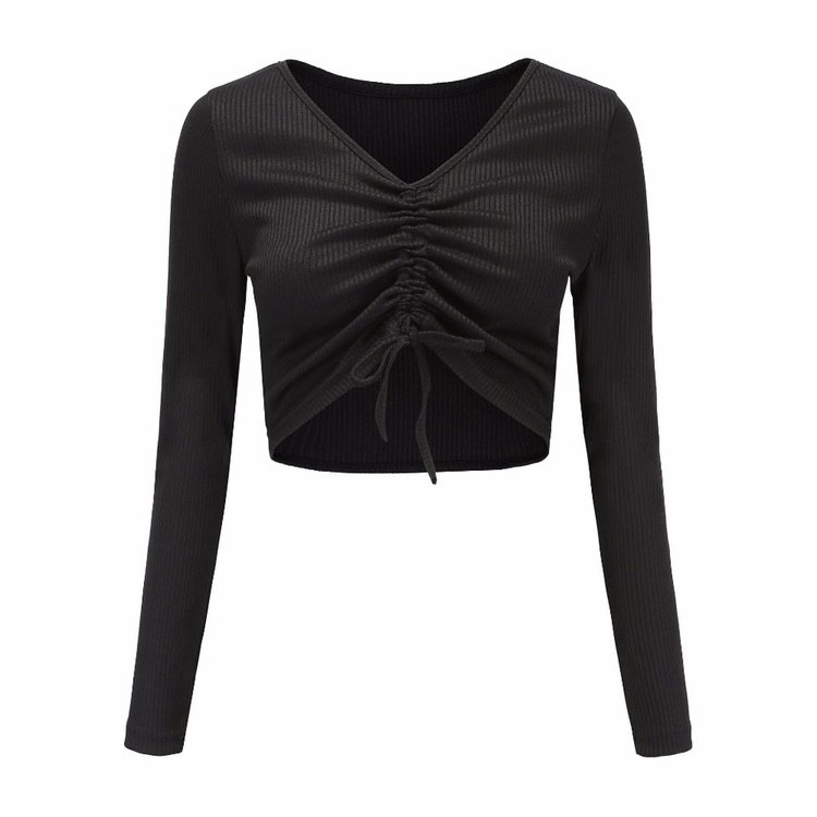 Danielle Scrunchy Crop Top With Drawstring Black