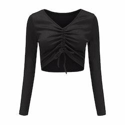 Danielle Scrunchy Crop Top With Drawstring Black