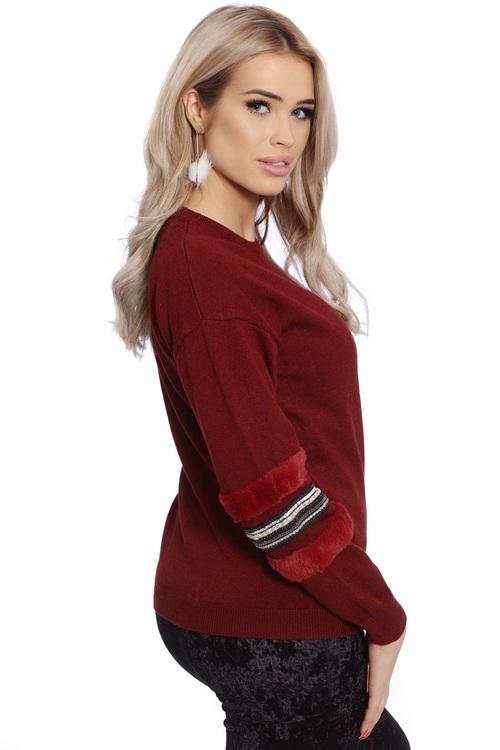 Babbi Faux Fur Red