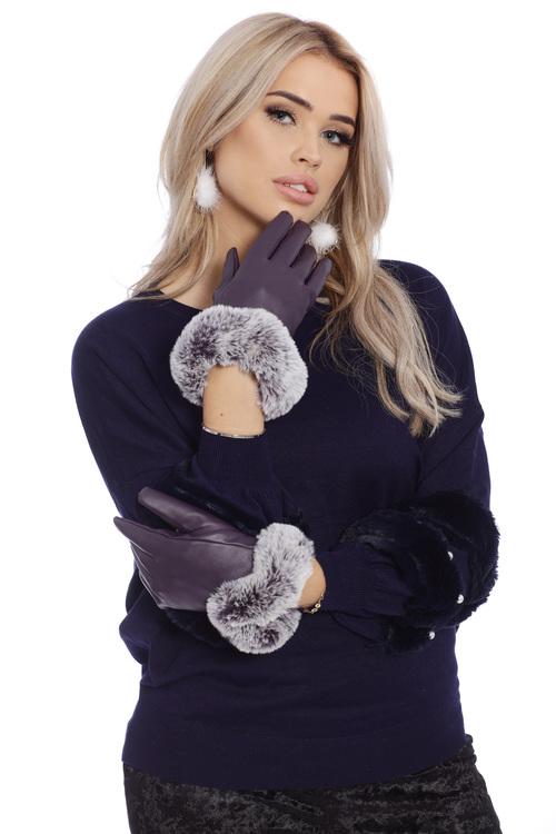 Eyla Faux Fur Gloves Purple Touch