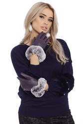 Eyla Faux Fur Gloves Purple Touch