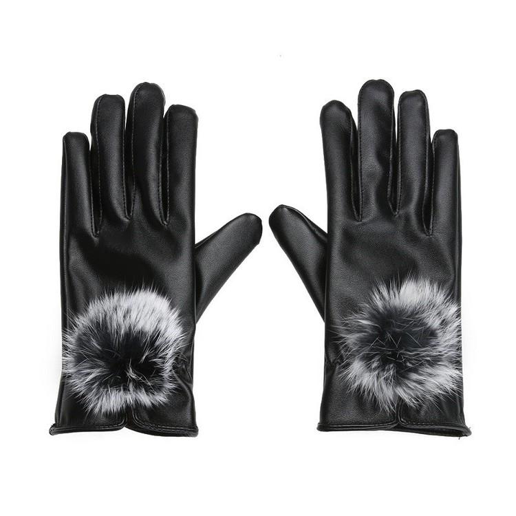 Eleena Rabbit Fur Gloves Black Touch