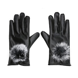 Eleena Rabbit Fur Gloves Black Touch