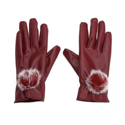 Eleena Rabbir Fur Gloves Red Touch