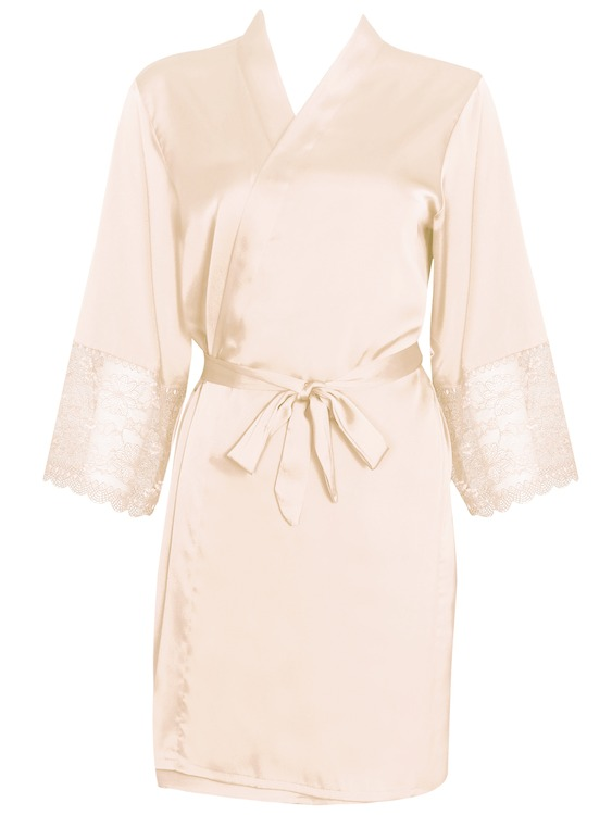 Alia Robe With Lace Beige