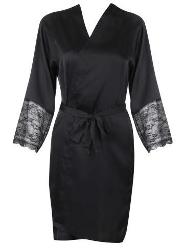 Alia Robe With Lace Black