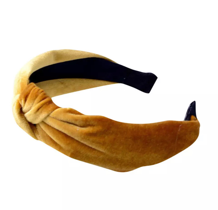 Velvet Hairband With Knot Yellow