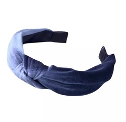 Velvet Hairband With Knot Light Blue