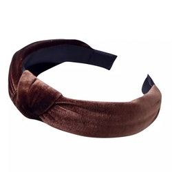 Velvet Hairband With Knot Brown