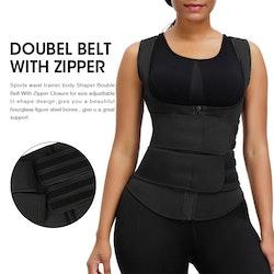 Emory - Unisex Double Velcro Neoprene Sweat Shapervest 4 steelbones Black
