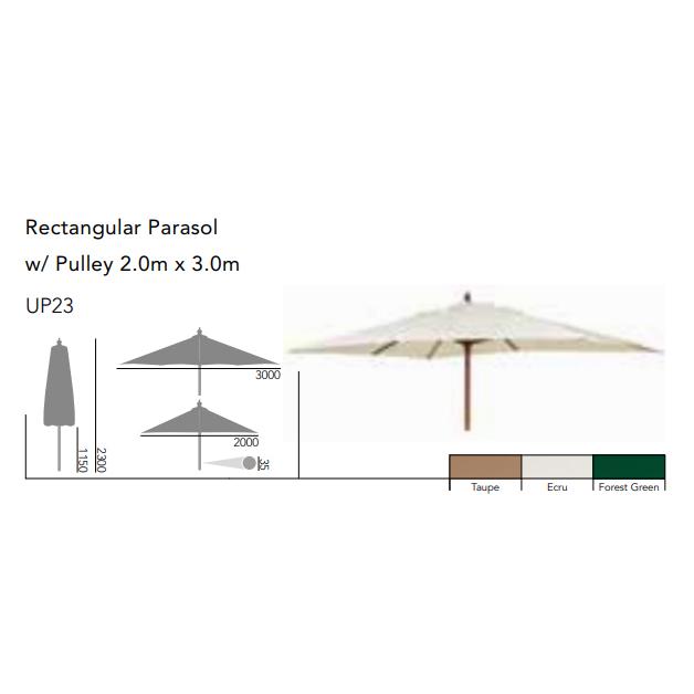 Rektangulärt Parasoll 2,0mx3,0m Sand