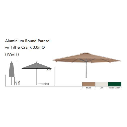Runt Aluminium Parasoll 3,0m Grön