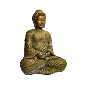 Betongfigur Sittande Budda Guld