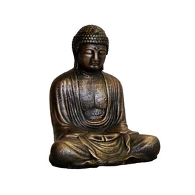 Betongfigur Sittande Budda Liten Brons