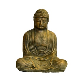 Betongfigur Sittande Budda Liten Guld