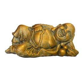 Trädgårdsfigur Liggande Budda Guld