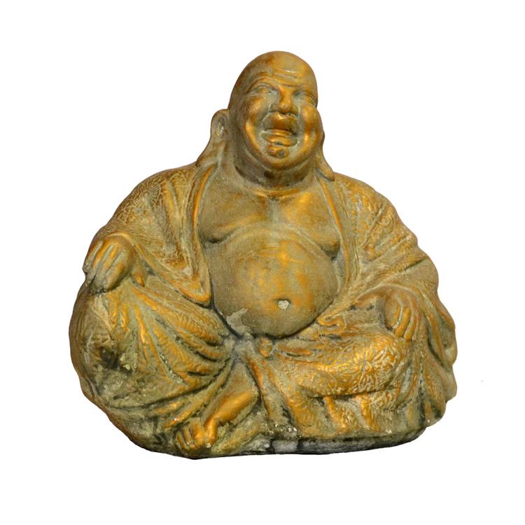 Trädgårdsfigur Sittande Budda Guld