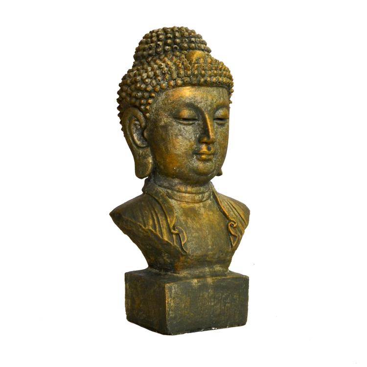 Trädgårdsfigur huvud på sockel Guld