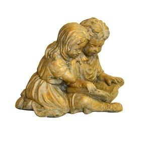 Trädgårdsfigur Läsande barn Guld