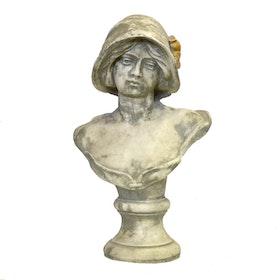 Trädgårdsfigur Byst Med Hatt