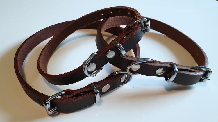 Läderhalsband till hund - Brun
