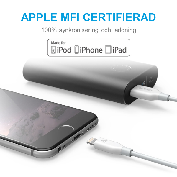 Anker PowerLine Lightning USB kabel - vit, 180cm - mfi-certifierad