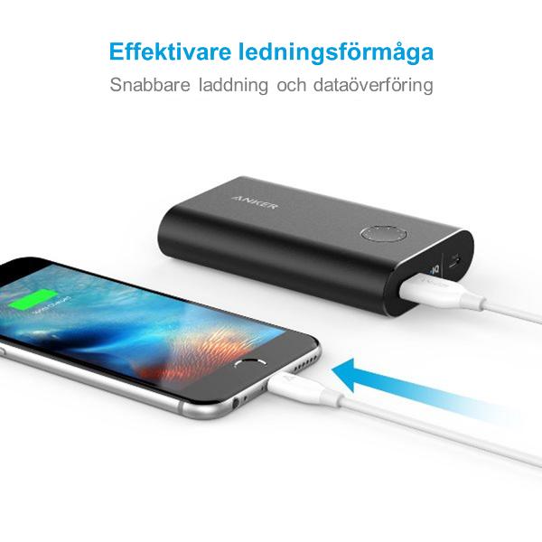 Anker PowerLine Lightning USB kabel - vit, 180cm för snabb laddning
