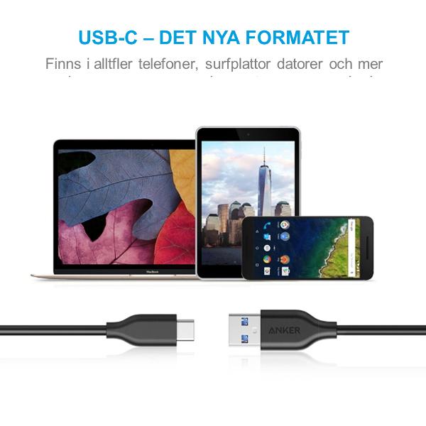 Anker PowerLine USB-C USB-A 180cm för mobiler surfplattor och annat med USB-C