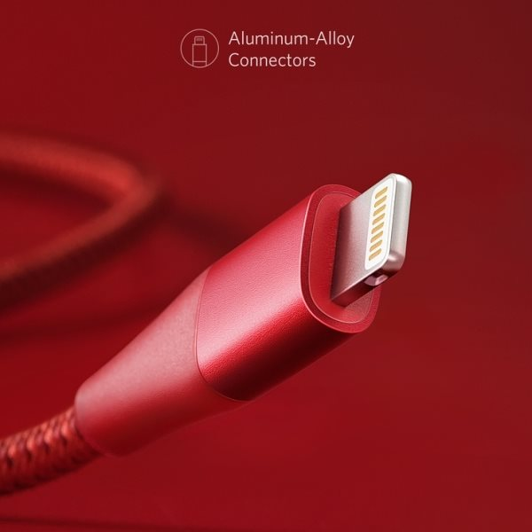 Anker PowerLine plus II röd kontakt i aluminium