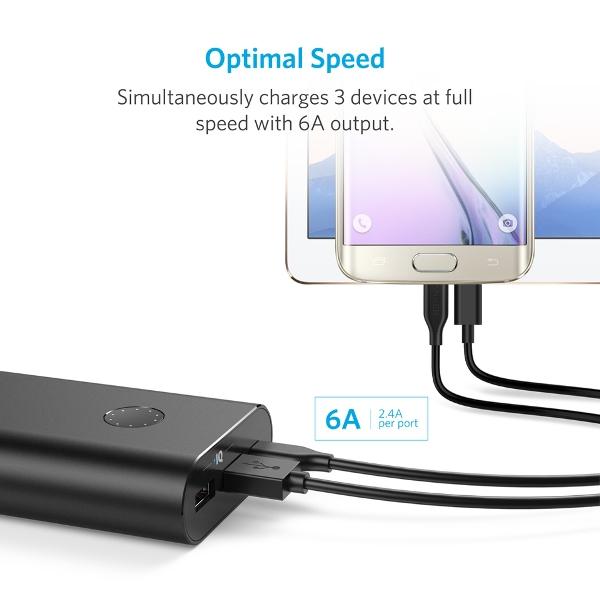 Anker PowerCore+ 20100mAh powerbank med USB-C laddar flera apparater samtidigt