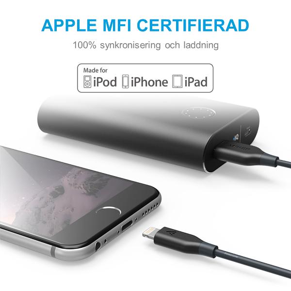 Anker PowerLine Lightning är MFI-certifierad