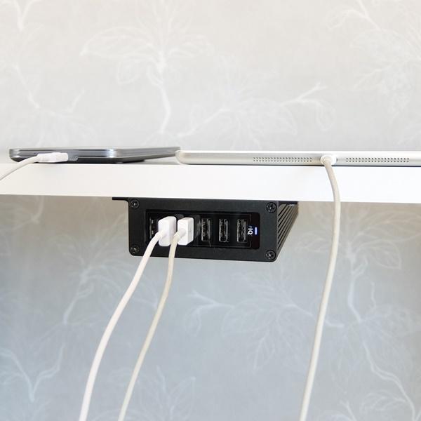 Fastskruvad fäste med PowerPort 6 mobilladdare - svart