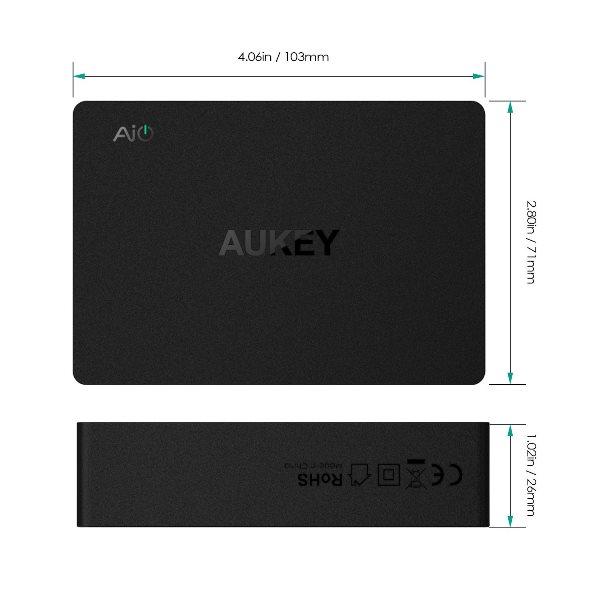 Aukey mobilladdare med 6 uttag och Quick Charge 3.0 - mått
