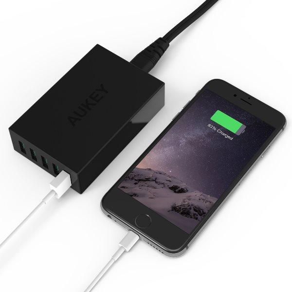 Aukey mobilladdare med 5 uttag för alla telefoner