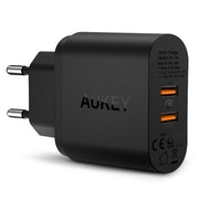 Aukey mobilladdare - 2 uttag & Quick Charge 3.0