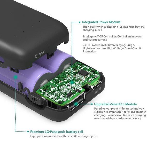 RAVPower 6700mAh Pocket powerbank skyddskretsar och komponenter